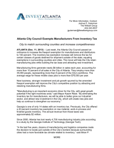 Atlanta City Council Exempts Manufacturers From