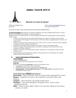 Syllabus: French III, 2015-16