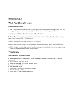 Unit/ Module 3 What Your Child Will Learn