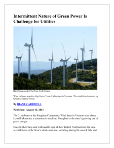 Intermittent Nature of Green Power Is Challenge for Utilities