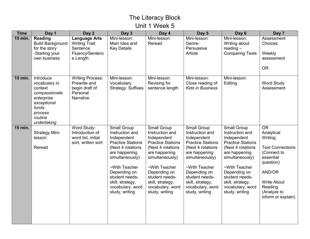 Sample 4th Grade Block
