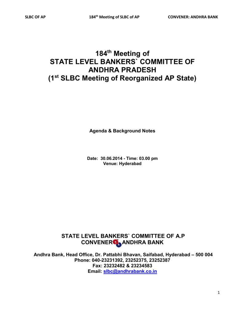 state level bankers` committee of ap convener andhra bank