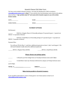 Keswick Cheese CSA Order Form This form can be mailed to