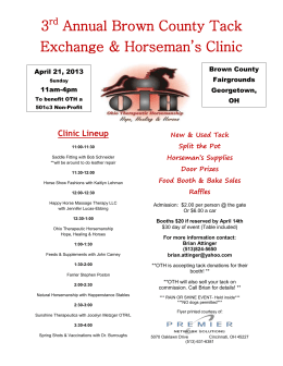 3 rd Annual Brown County Tack Exchange & Horseman`s Clinic