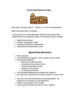 Ancient Rome Research Project Due Date: Thursday, June 11