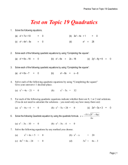 Test on Topic 19 Quadratics