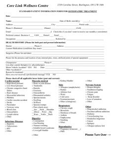 Osteopathic Intake Form 2014