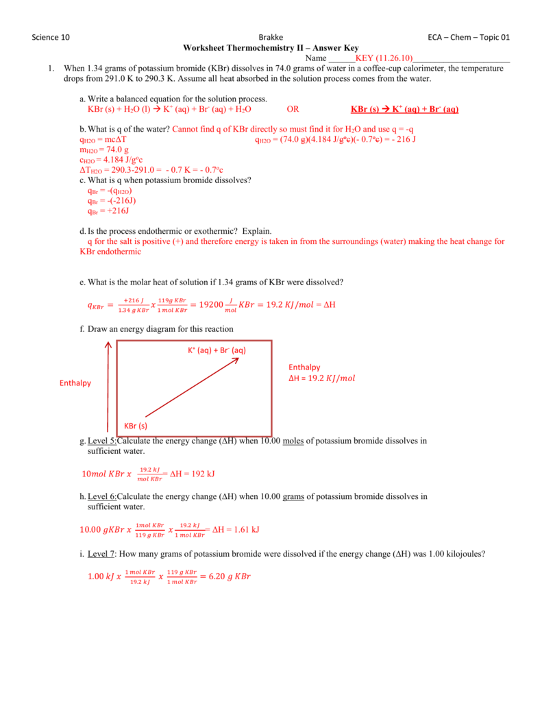 Worksheet Thermochemistry II Answers