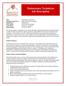 maintenance technician job description pdf