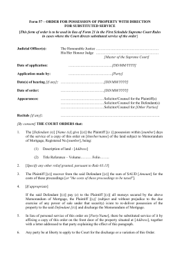 Form 57 * ORDER FOR POSSESSION OF PROPERTY WITH