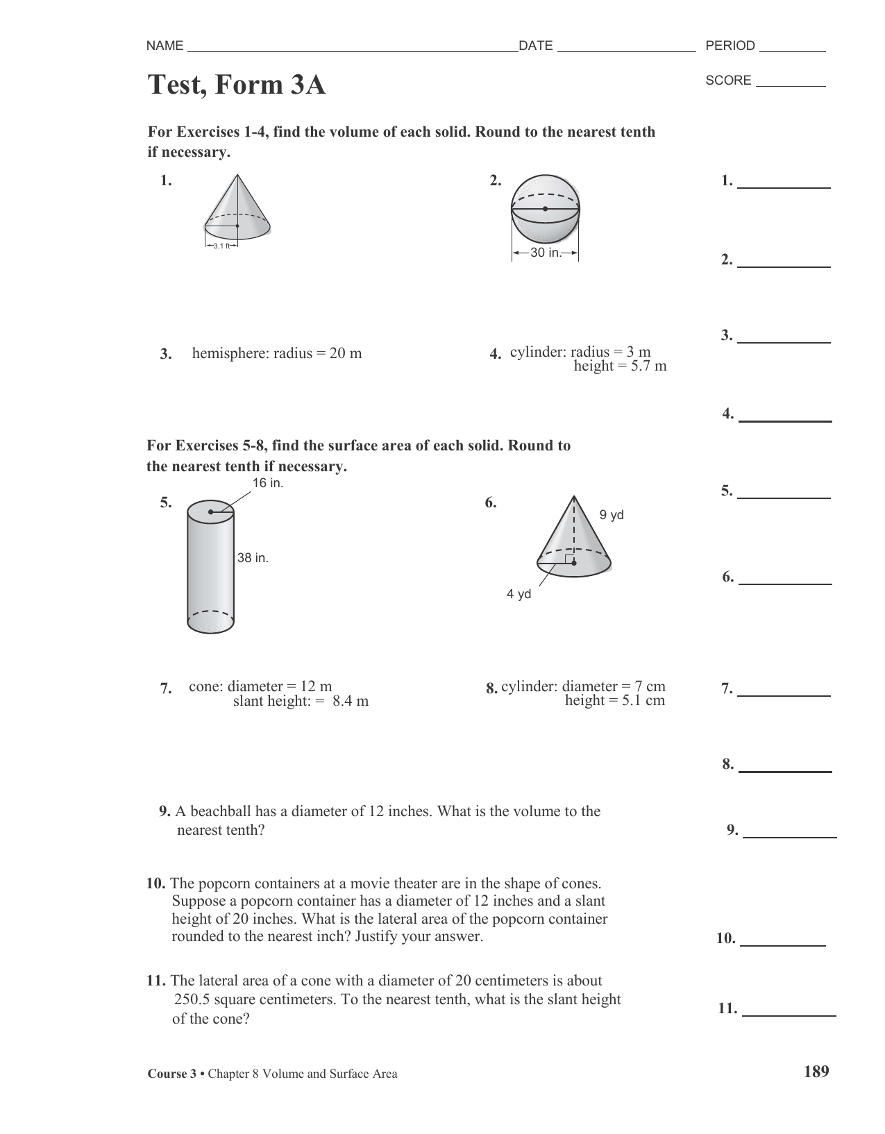 Surface area and volume test with answers array test 3a volume and surface area rh studylib fandeluxe Images