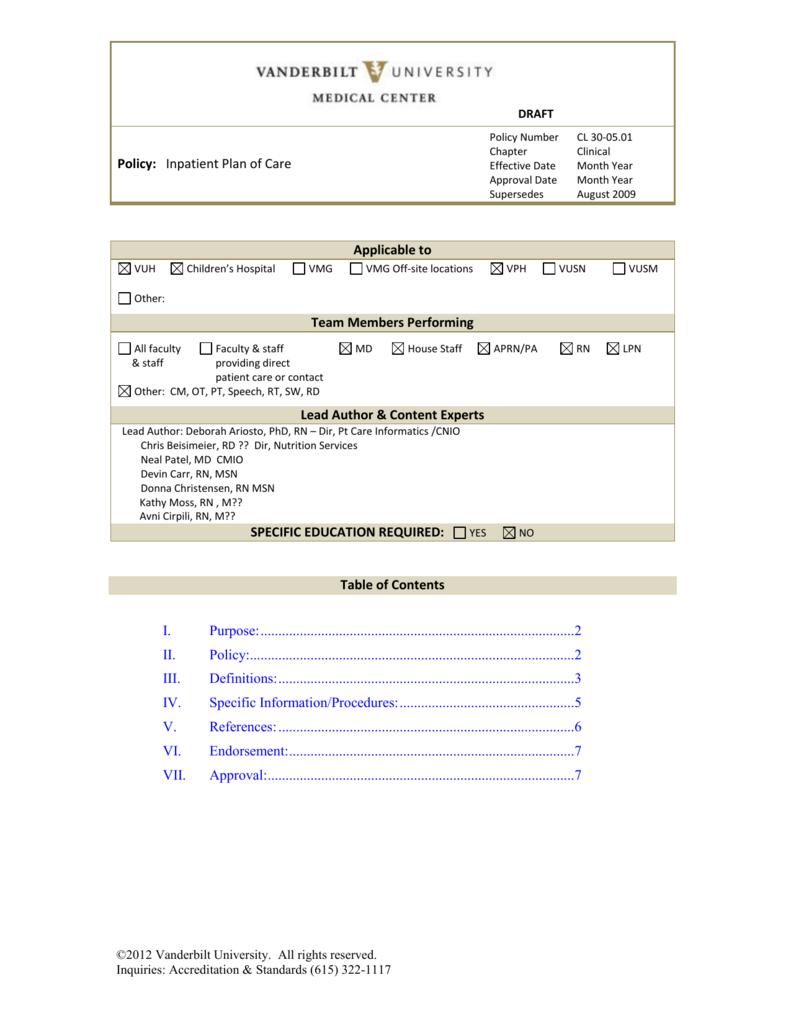 Nursing Plan of Care - Vanderbilt University Medical Center