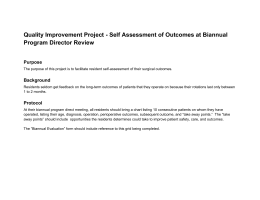 Quality Improvement Project - Self Assessment of Outcomes at