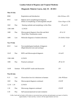 Malaria Course Timetable - London School of Hygiene & Tropical