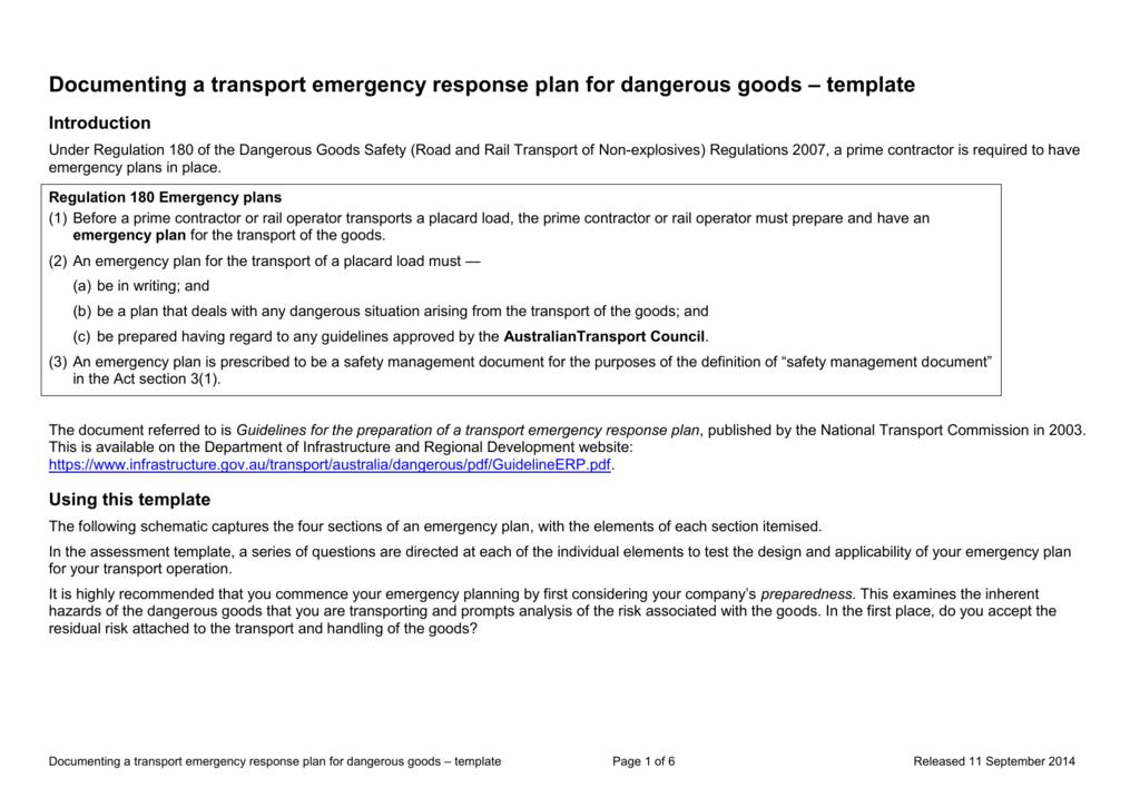 Documenting a transport emergency response plan for dangerous – Emergency Response Plan Template