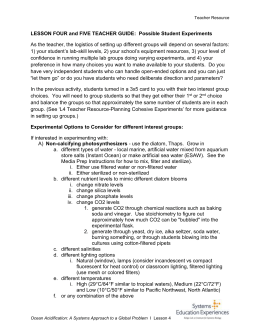 Teacher`s Guide to Student Experiments document