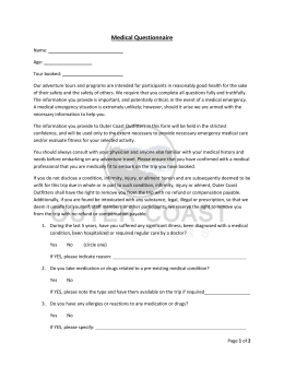 Medical Questionnaire - Outer Coast Outfitters