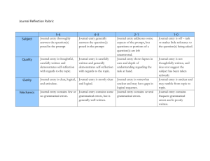 Journal Reflection Rubric