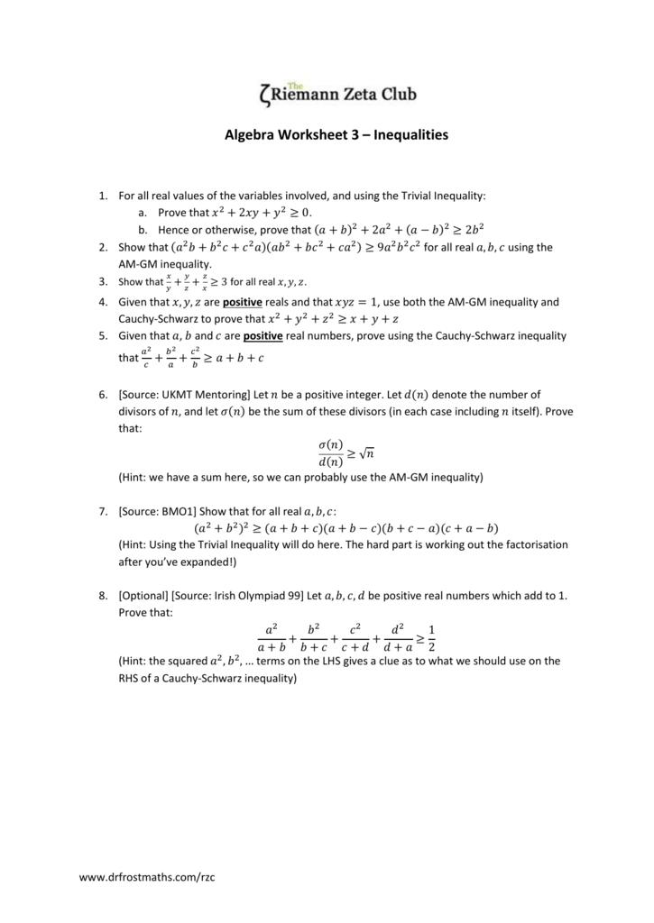 RZC Algebra Worksheet 3