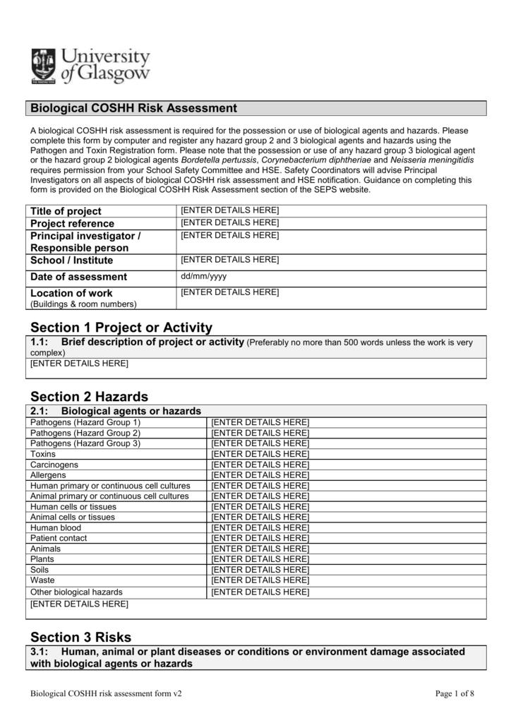Sample Risk Assessment Templates