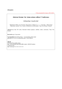 Abstract format for Asian science editors` Conference