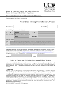 Assignment or Essay Cover Sheet
