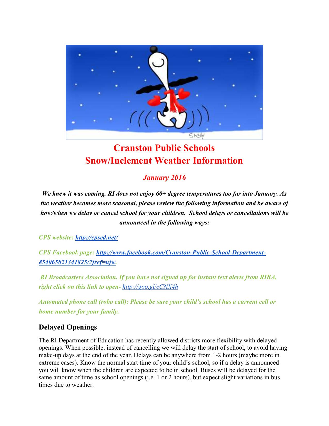SNOW MEMO - Cranston Public Schools