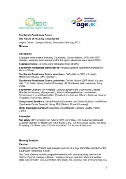spf-forum-minutes-29-05-13 - Southwark Pensioners Centre