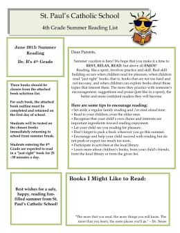 June 2015: Summer Reading Dr. B`s 4 th Grade