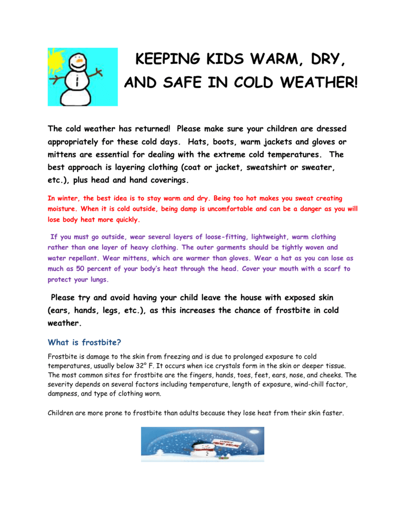 keeping kids warm, dry, and safe in cold weather!