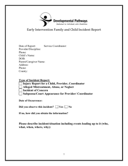 Developmental Pathways-Early Intervention Incident Report