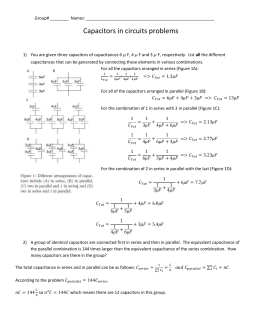 Capacitors in circuits Group Worksheet Solution