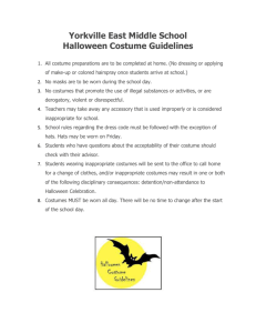 Yorkville East Middle School Halloween Costume Guidelines