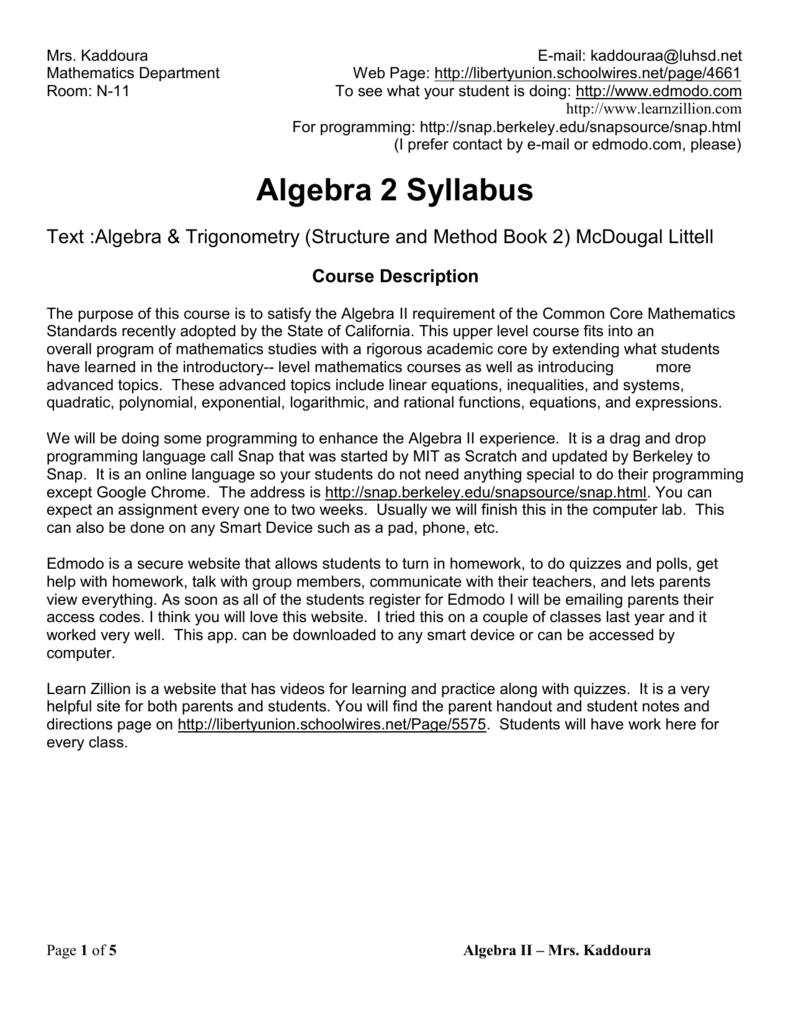Mr  Gunn: Algebra 2 Syllabus - Liberty Union High School
