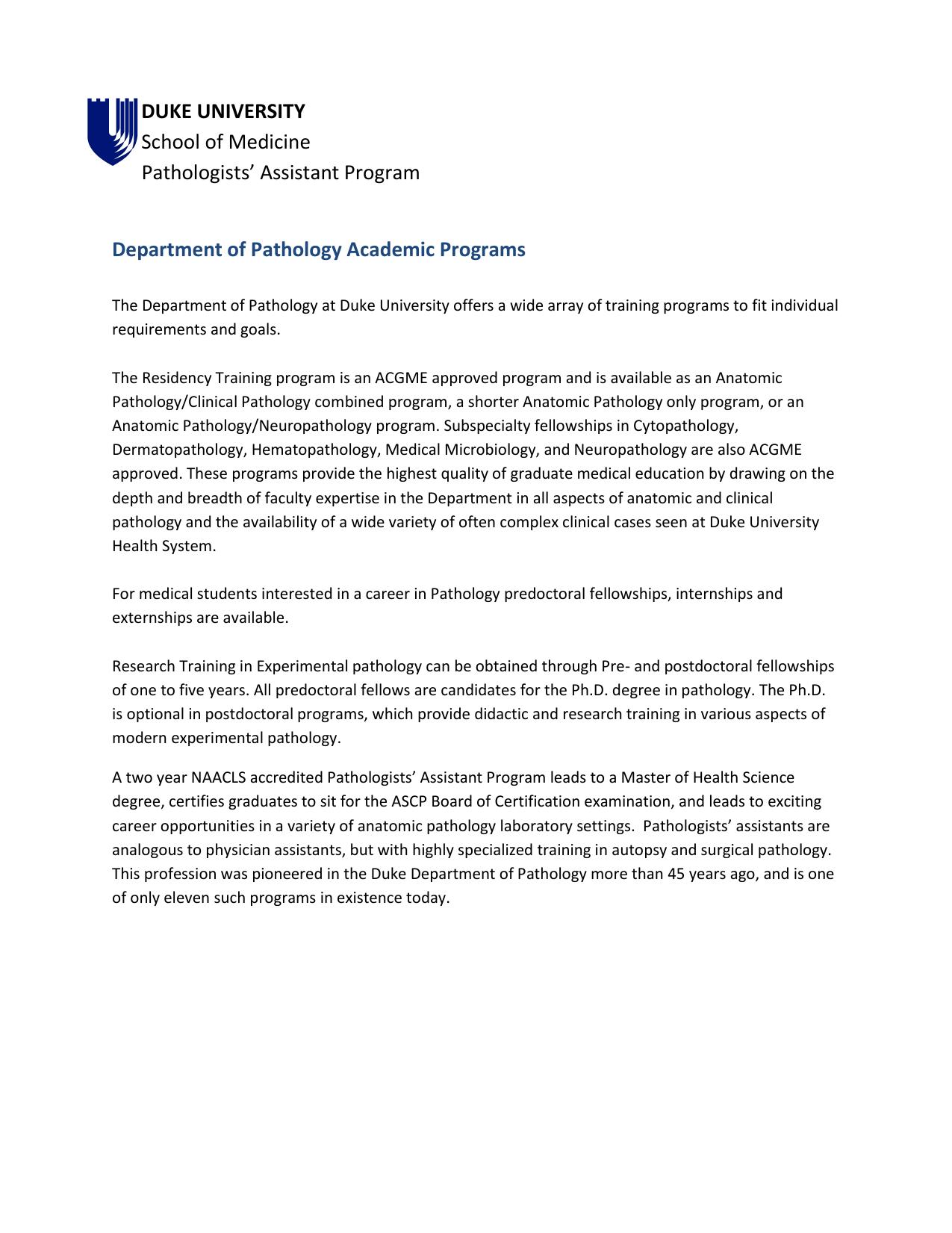 Printable Brochure PDF - Duke Department of Pathology