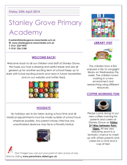 Month Newsletter - Stanley Grove Primary Academy
