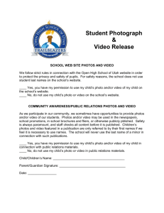 Student Photograph and Video Release Form
