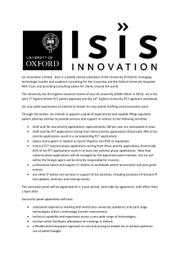 Isis Innovation Limited (Isis) is a wholly owned subsidiary of the