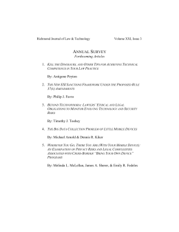 22 JOLT Vol. XXI, Issue 3 Forthcoming Articles