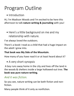 Program notes for Nature Writing/Journaling workshop