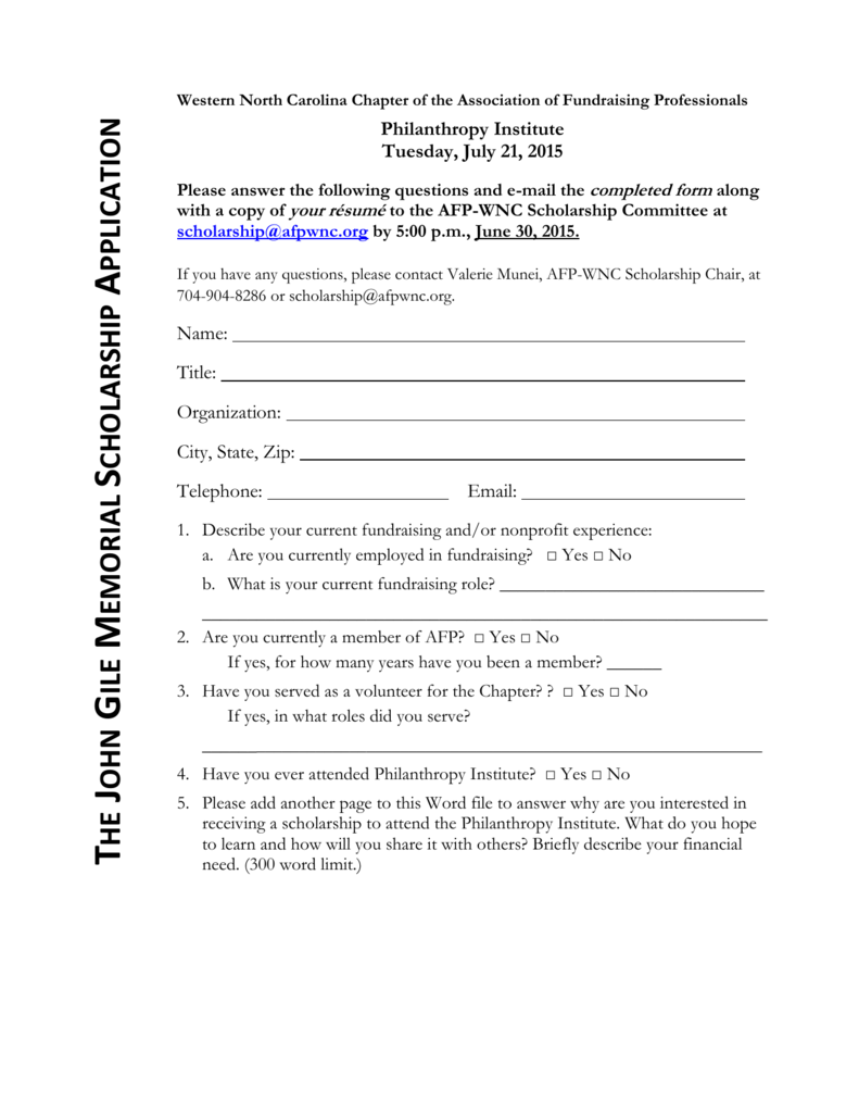 The Application Form Association Of Fundraising