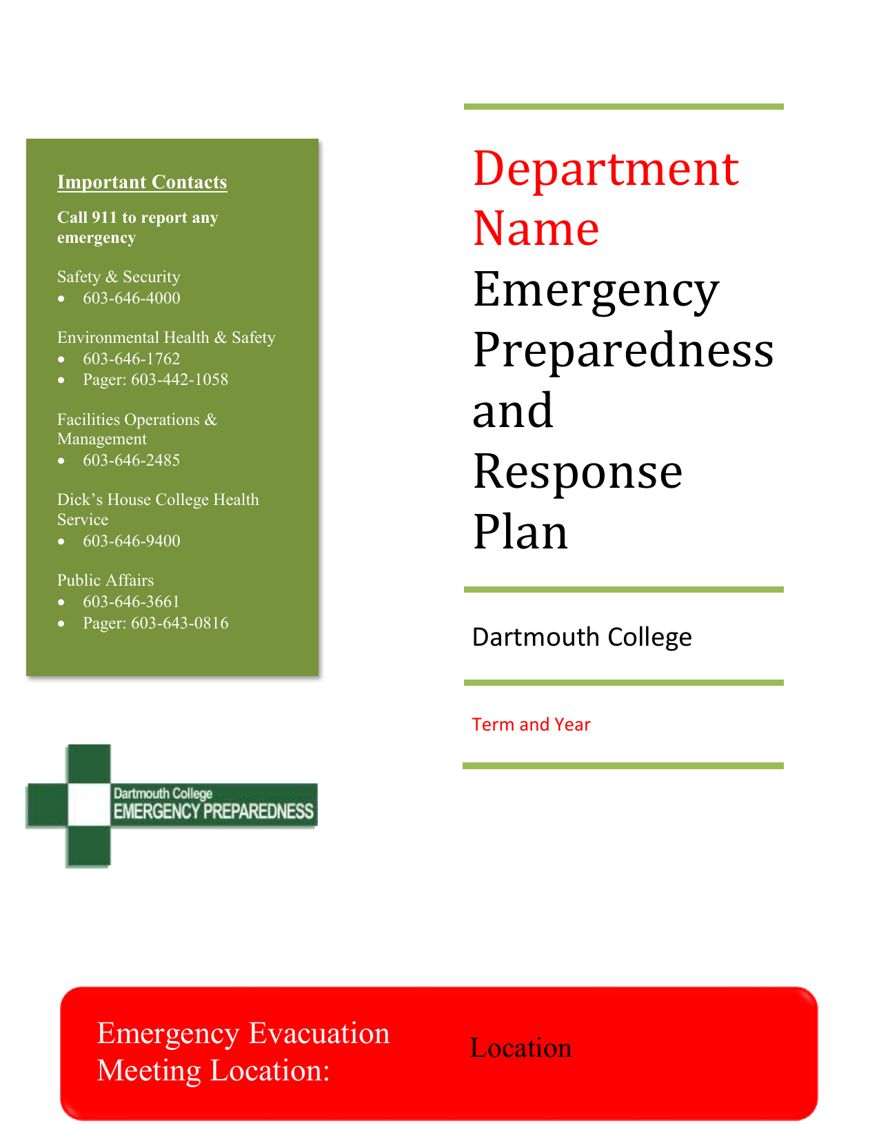 Emergency Preparedness and Response Plan