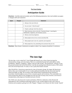 Anticipation Guide and The Jazz Age - MsCraig