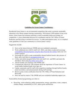 Guidelines for Green Games Coordinators: Residential Green