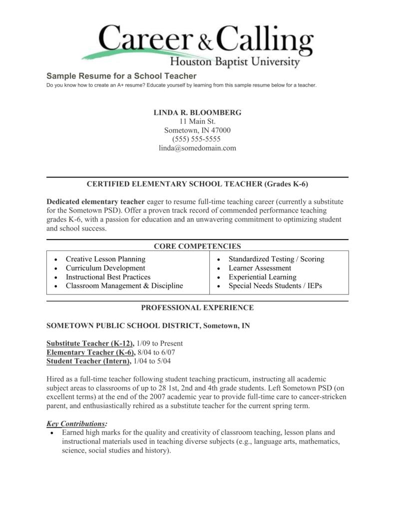 Sample Resume For A School Teacher