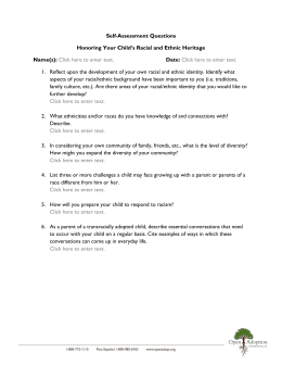 Self-Assessment Questions on Honoring Racial and Ethnic Heritage