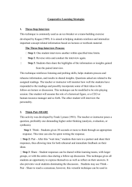 Cooperative Learning Strategies Three