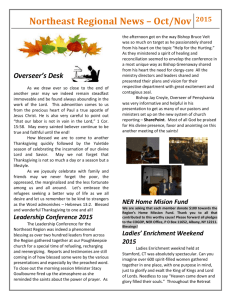 Northeast Regional News – Oct/Nov 2015 Overseer`s Desk