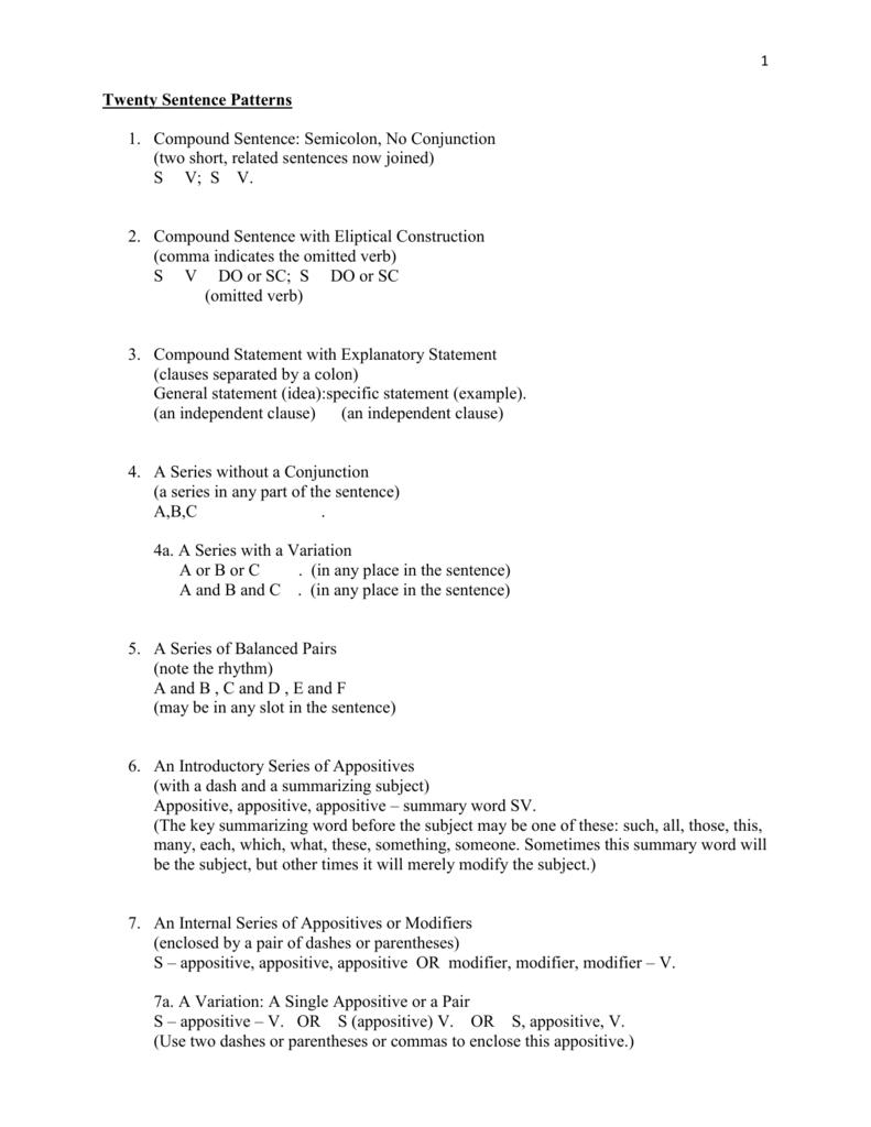 worksheet Appositive Practice Worksheet sentence patterns