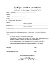 Application - Eucharistic Visitor - Episcopal Diocese of Rhode Island
